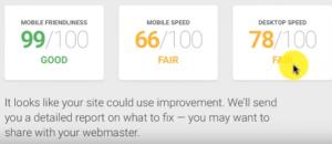 website speed load test showing scores