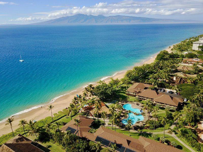 Aerial view of maui oceanfront vacation rental